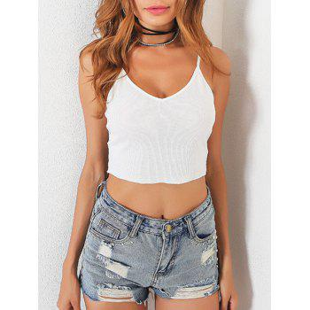 V Neck Lace Trim Crop Slip Top - WHITE WHITE