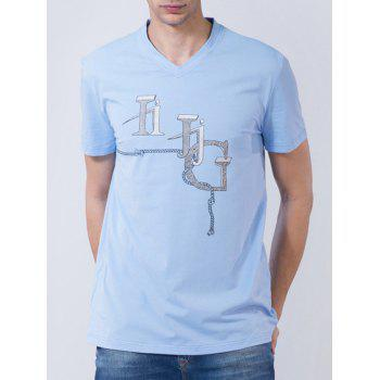 3D String Graphic Print Short Sleeve T-shirt - AZURE 2XL