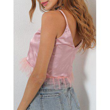 Mesh Panel V Neck Crop Cami Top - PINK PINK
