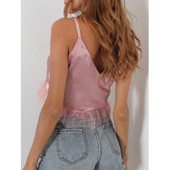 Mesh Panel V Neck Crop Cami Top - S S