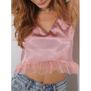 Mesh Panel V Neck Crop Cami Top - PINK S