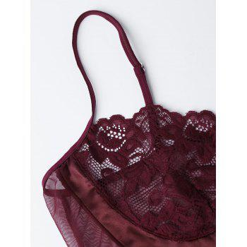 Mesh Lace Panel Sheer Lingerie Teddy - WINE RED 2XL
