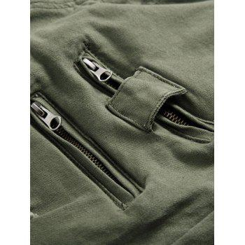 Zipper Fly Panel Design Beam Feet Distressed Jeans - ARMY GREEN 36
