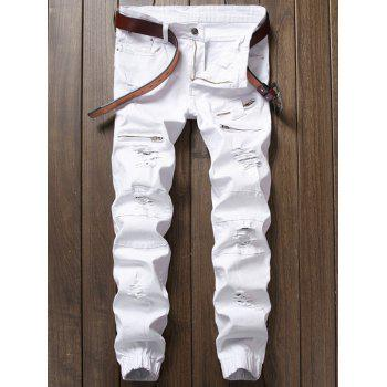 Zipper Fly Panel Design Beam Feet Distressed Jeans