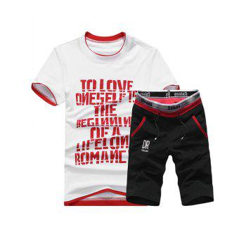 Graphic Print Short Sleeve Sport T-shirt and Shorts Twinset