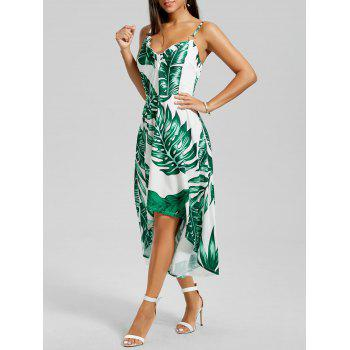 Palm Leaf Print High Low Slip Dress