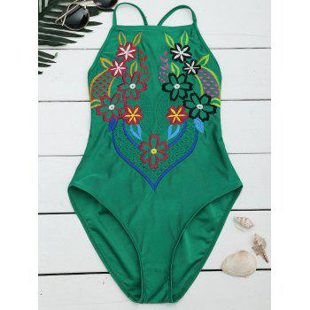 Embroidered Lace Up Cross Back Swimsuit