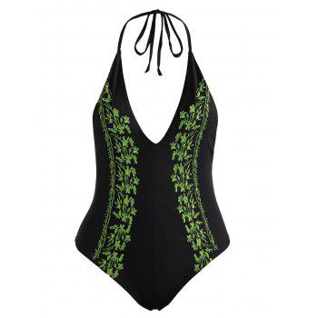 Embroidered Low Back Plus Size Swimsuit