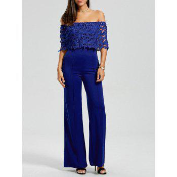 Off The Shoulder Lace Panel Jumpsuit
