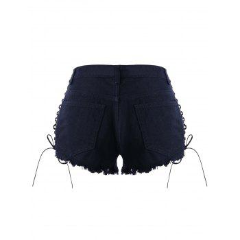 High Waisted Lace Up Denim Shorts - PURPLISH BLUE XL