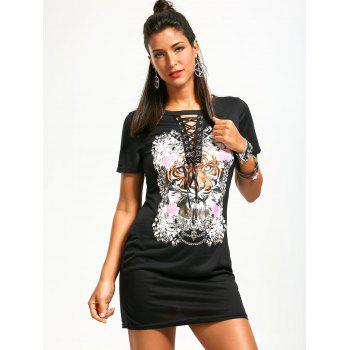 Punk Rock Dress with Tiger Floral Print