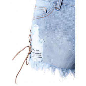 Lace Up Ripped Frayed Denim Shorts - LIGHT BLUE XL