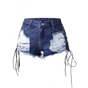 Shorts denim en dentelle en dentelle - Denim Bleu M