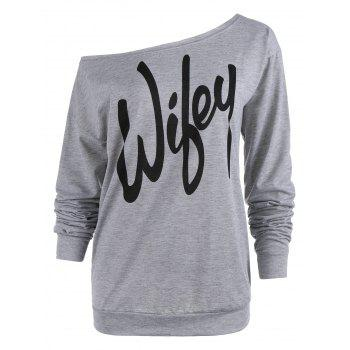 Charming Slash Neck Letter Printed Pullover Sweatshirt For Women