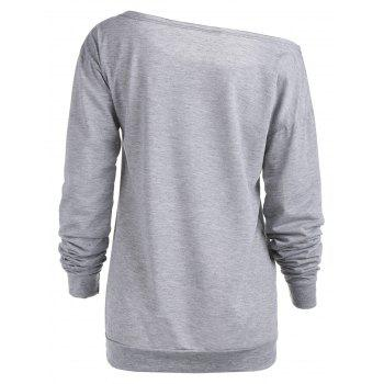 Charming Slash Neck Letter Printed Pullover Sweatshirt For Women - GRAY XL