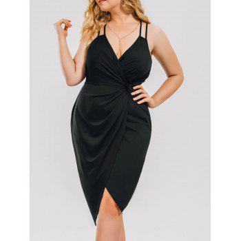 Plus Size Knot Ruched Evening Cami Dress