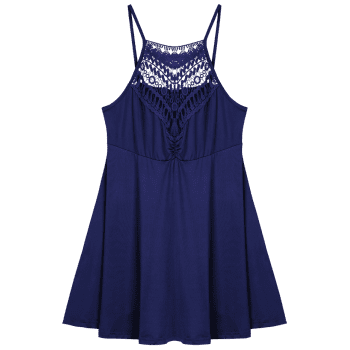 Plus Size Lace Trim Empire Waist Slip Dress - PURPLISH BLUE PURPLISH BLUE