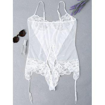 Plus Size Lace Panel Sheer Lingerie Teddy - WHITE 4XL