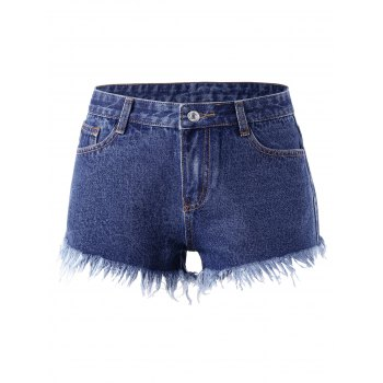 Shorts Denim À Rivet Frayed - Denim Bleu 2XL