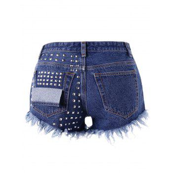 Rivet Frayed Denim Shorts - DENIM BLUE L