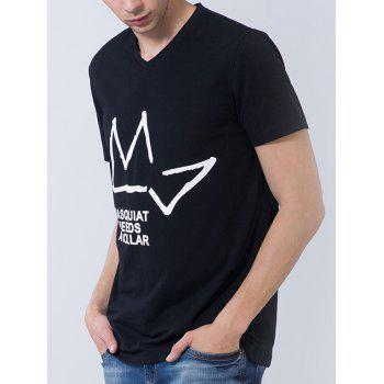 Geometric and Graphic Print Short Sleeve T-shirt - BLACK M