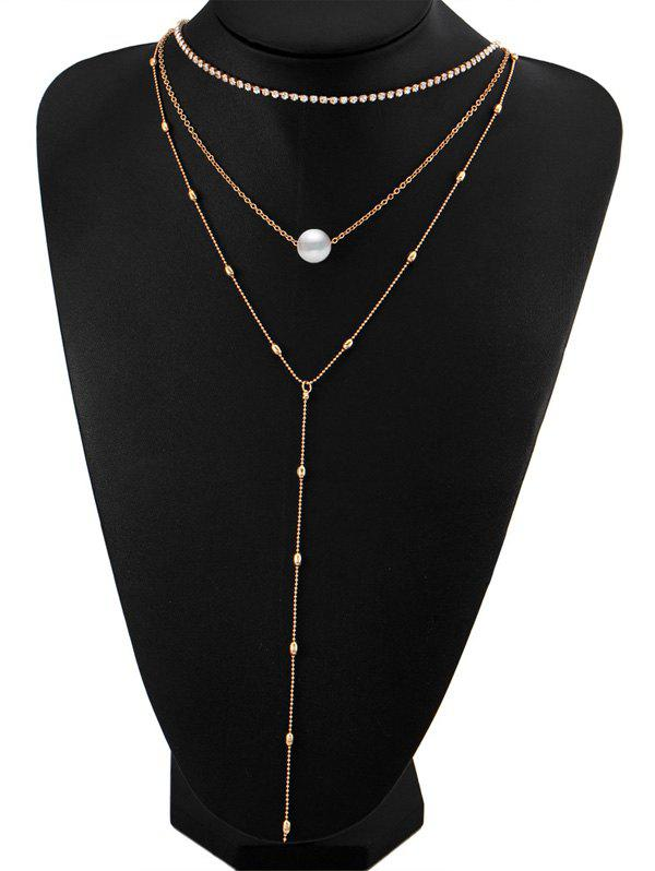 Rhinestone Faux Pearl Layered Necklace