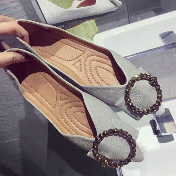 Buckle Strap Faux Leather Flat Shoes