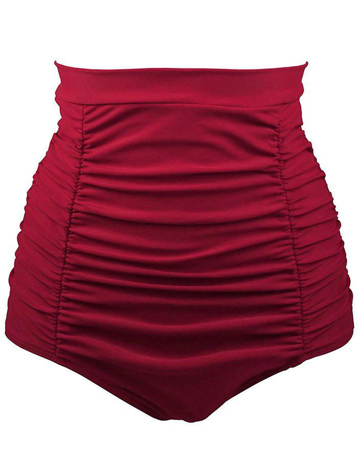 Retro High Waisted Bikini Bottom - RED L
