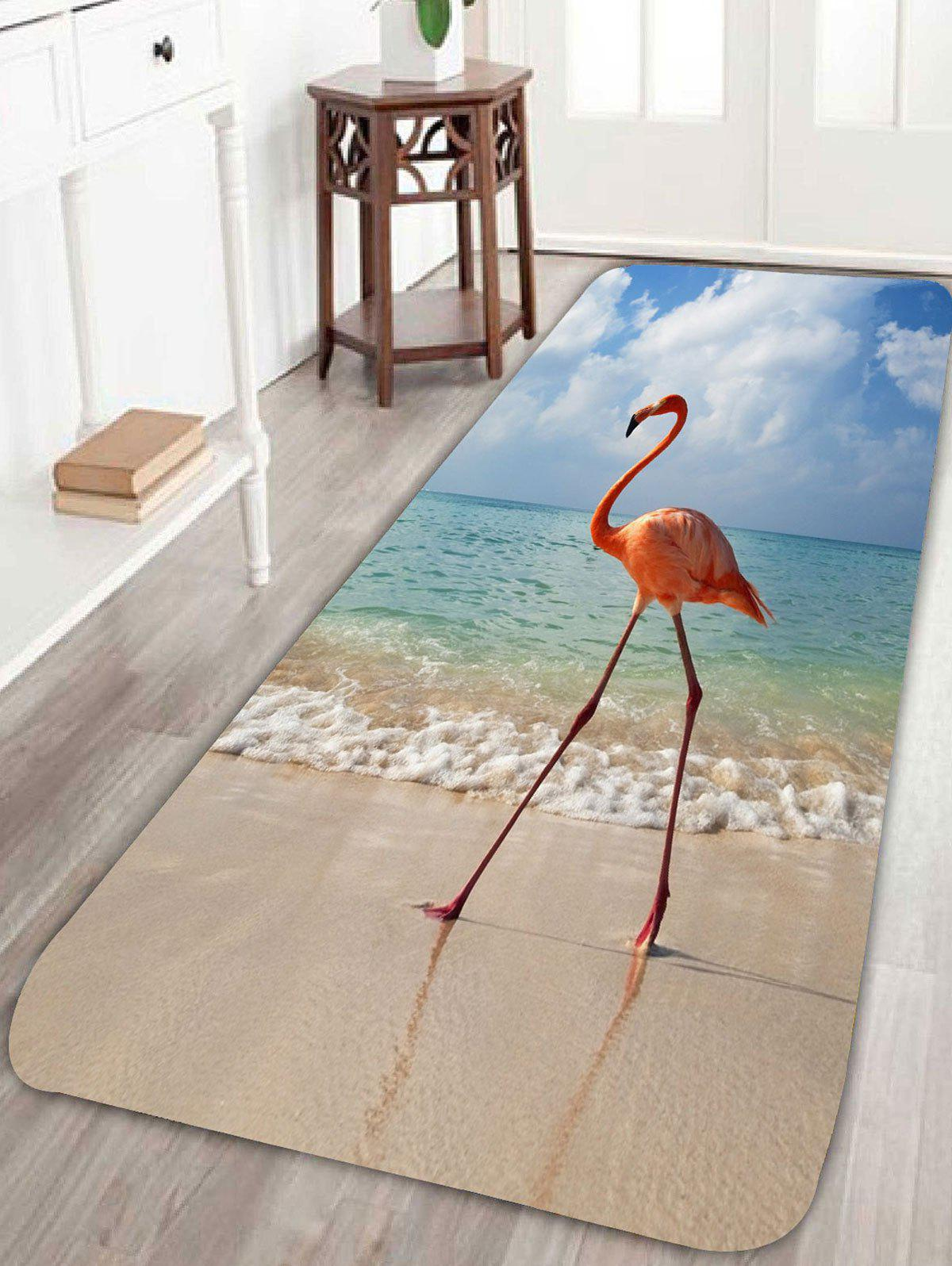 Beach Flamingo Antislip Coral Fleece Bathroom Rug