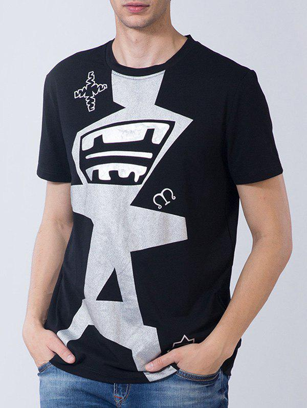 Novelty Graphic Print Short Sleeve T-shirt - BLACK L