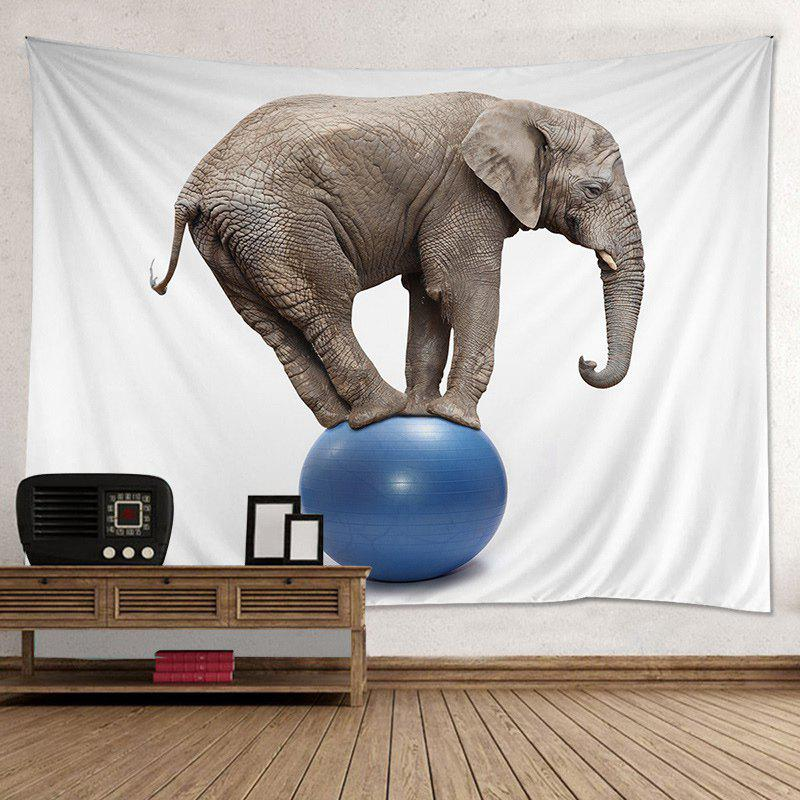 Elephant On A Ball Print Tapestry Wall Hanging Art Decor - COLORMIX W59 INCH*L51 INCH