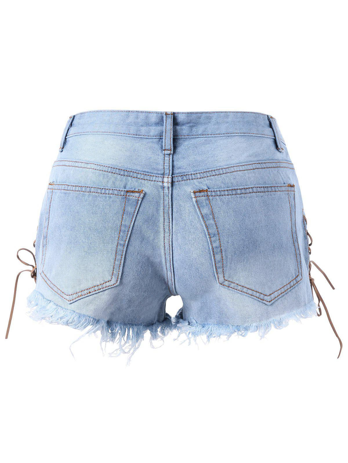 Lace Up Ripped Frayed Denim Shorts - LIGHT BLUE 2XL