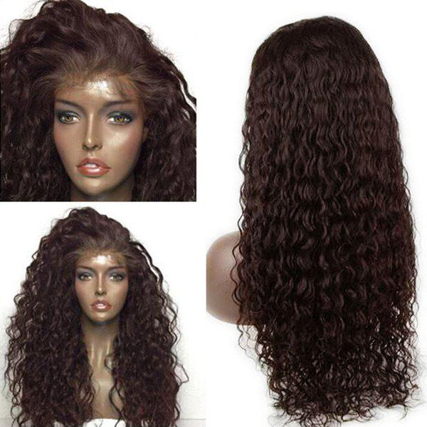 Dyed Perm Long Deep Side Parting Water Wave Lace Front Human Hair Wig - BROWN 20INCH