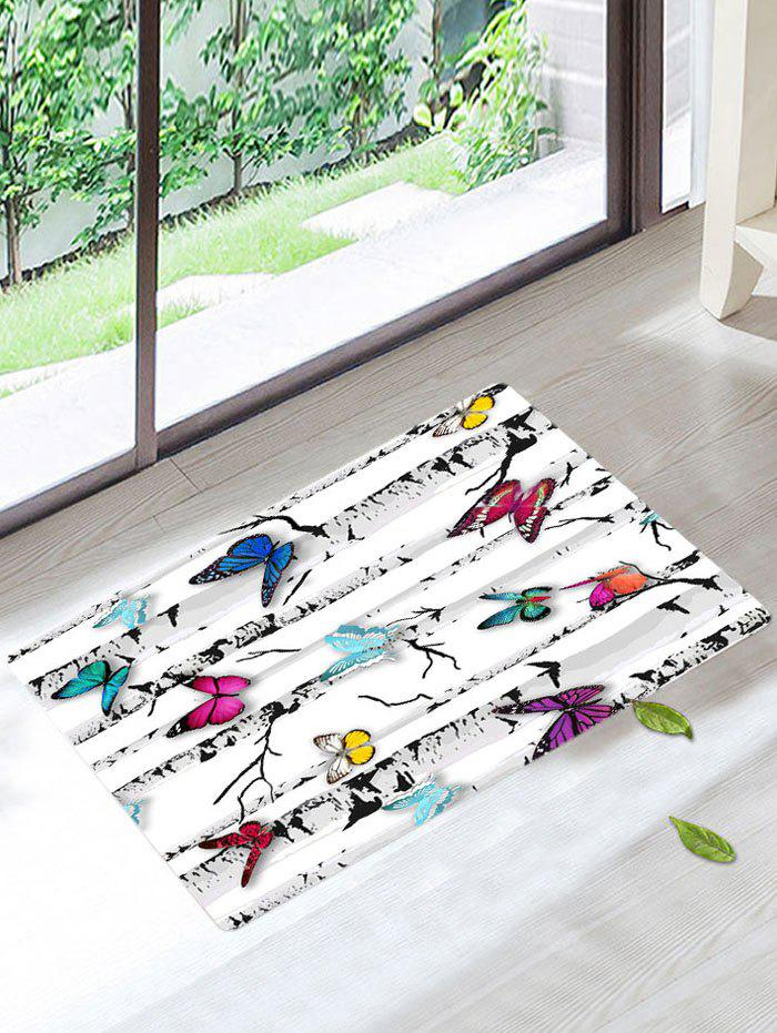 Tree Butterfly Print Skidproof Bath Rug flannel skidproof bath rug with butterfly print