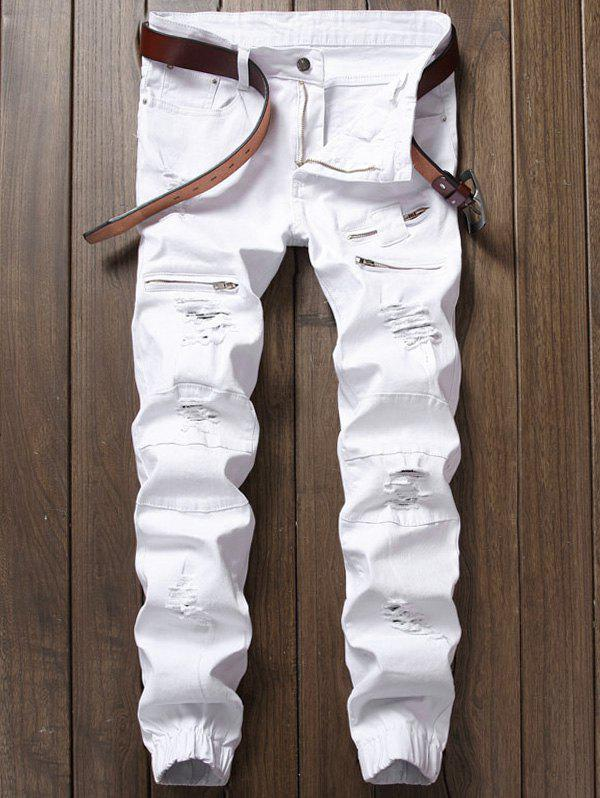 Zipper Fly Panel Design Beam Feet Distressed Jeans - WHITE 30