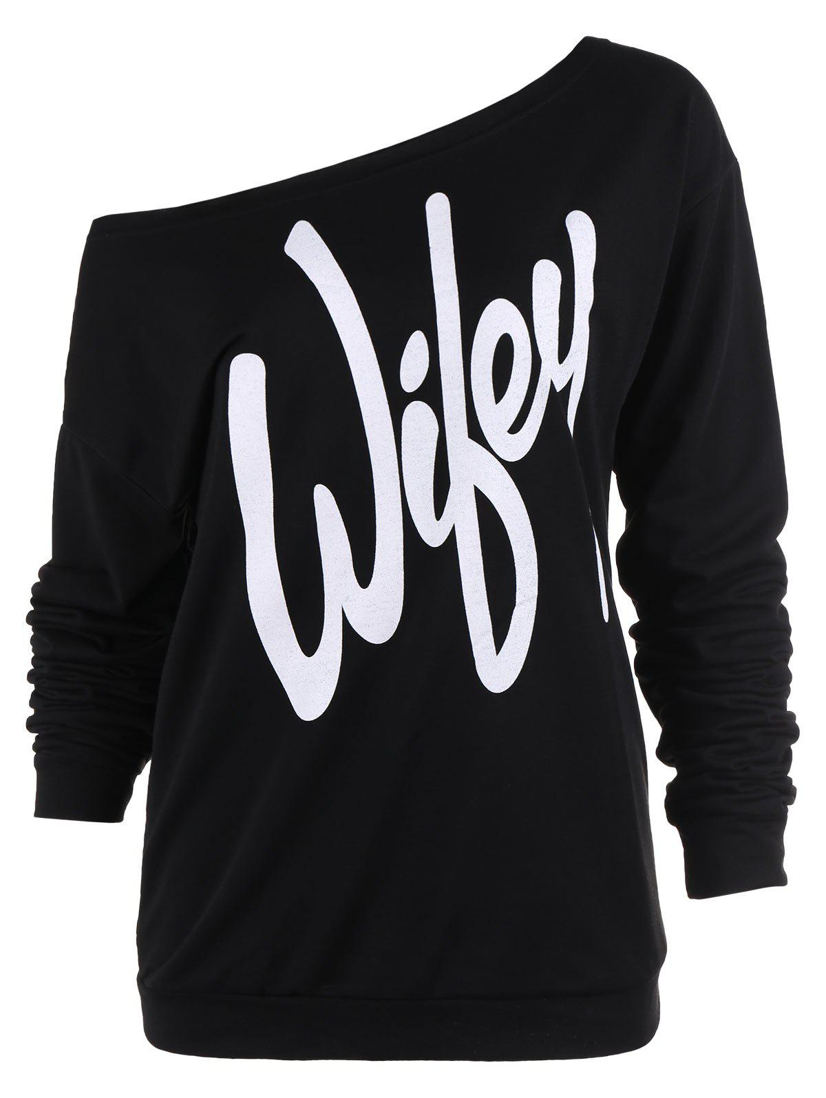 Charming Slash Neck Letter Printed Pullover Sweatshirt For Women casio ltp 1263pg 7b