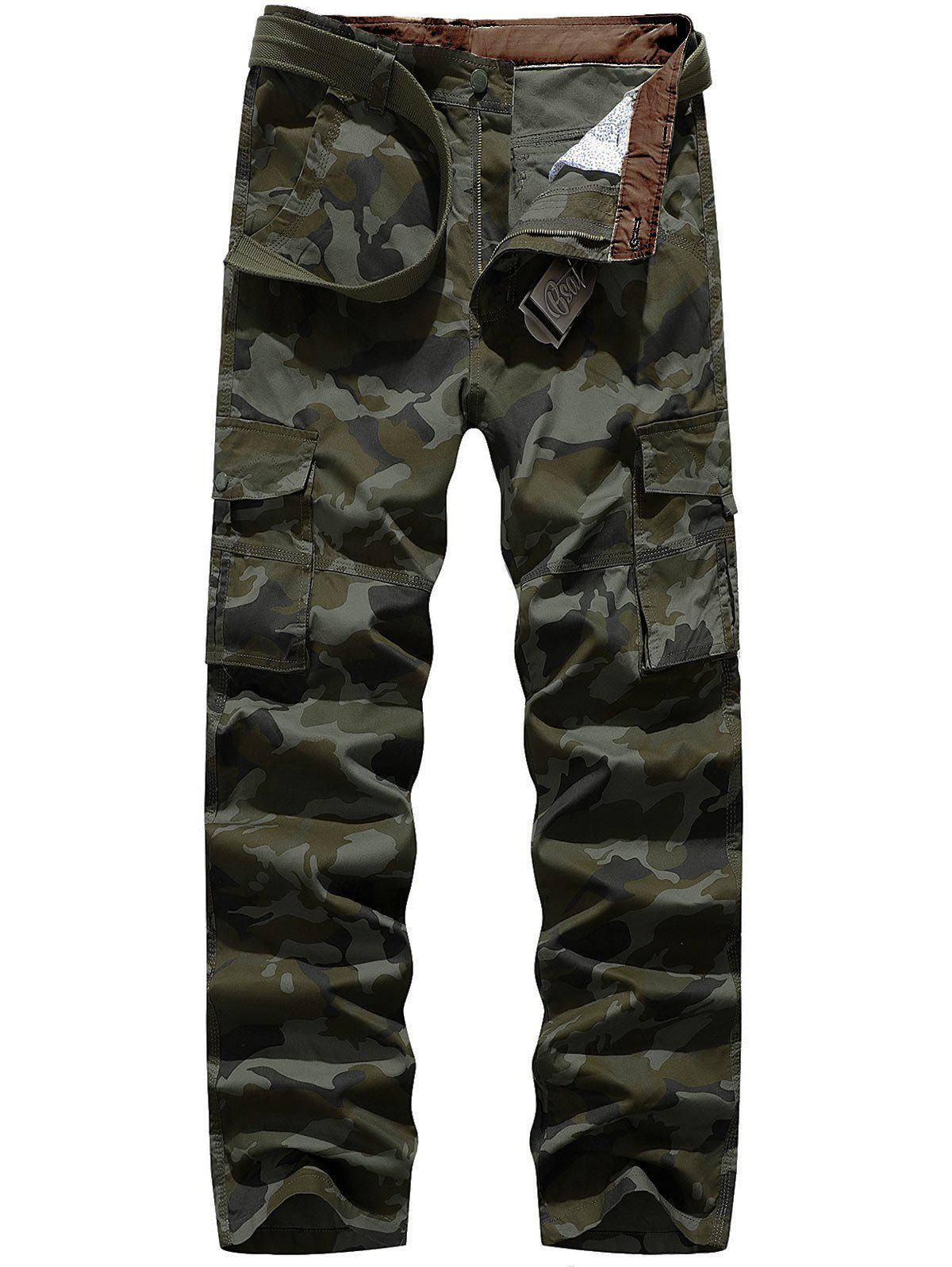 Multi-pocket Cargo Pants - ARMY GREEN CAMOUFLAGE 34
