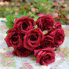 Home Decoration Flower Arrangement Artificial Roses - WINE RED