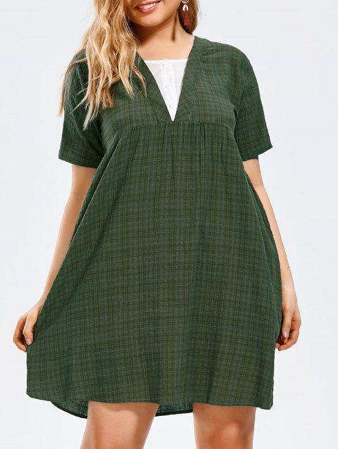 Plus Size Half Button Plaid Smock Dress