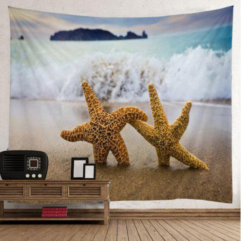 Starfish Beach Wave Wall Tapestry - LIGHT BLUE W51 INCH * L59 INCH