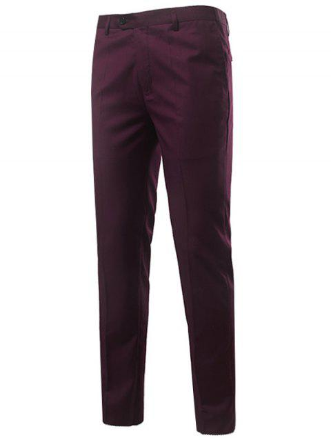 Zipper Fly Straight Leg Slim Fit Chino Pants - WINE RED 4XL