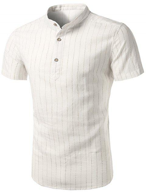 Stand Collar Vertical Stripe Cotton Linen Shirt - WHITE 41