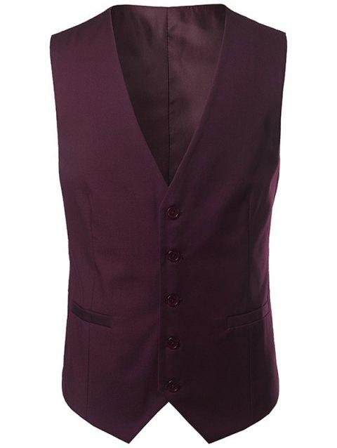 V Neck Belt Design Single Breasted Waistcoat - WINE RED 3XL