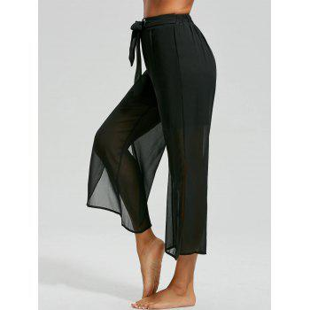 High Waist Chiffon Split Ankle Pants