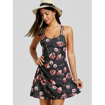 Strappy Floral Print Sundress - BLACK M