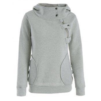 Inclined Zipper Pockets Long Sleeve Pullover Hoodie