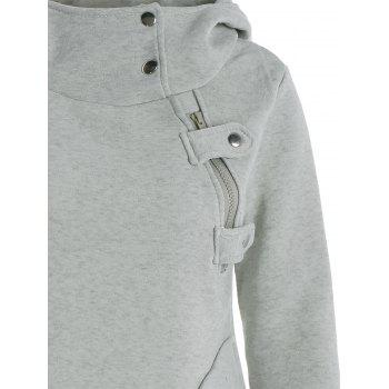 Inclined Zipper Pockets Long Sleeve Pullover Hoodie - GRAY M