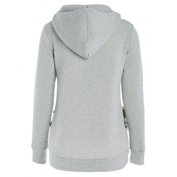 Inclined Zipper Pockets Long Sleeve Pullover Hoodie - GRAY GRAY