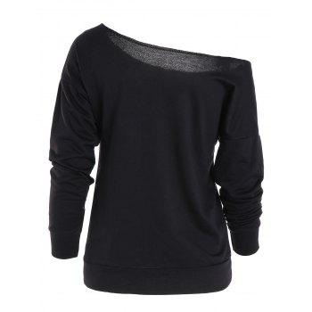 Skew Neck Merry Christmas Print Sweatshirt - BLACK L