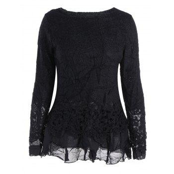Long Sleeves Lace Panel Top - BLACK BLACK